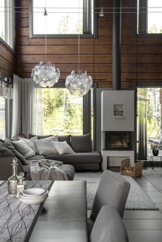 Cabin Interior Design, Cottage Design, Interior And Exterior, Interior Decorating, Inside A House, House In The Woods, Lampe Bauhaus, Home Board, Dream House Exterior