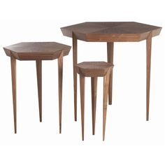 Orson walnut veneer and solids nesting tables-set of 3 by Arteriors.