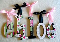 custom pattern wood wooden baby nursery wall letters ribbons hanging decorations