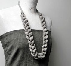 Statement necklace knitted and knotted chain long by ylleanna, €48.00