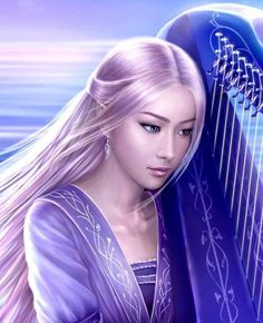 Emma plays the harp on the last night before her father is to marry Lady Lorelei.  Rivendell Elf Playing Harp