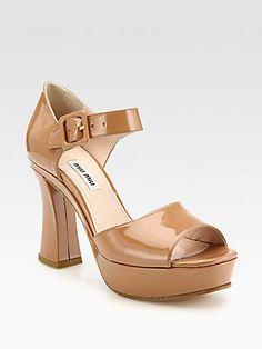 Miu Miu Patent Leather Platform Sandals (=)