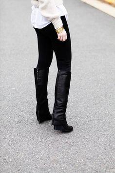 boots, pants, sweater, shirt, cream, black, fashion