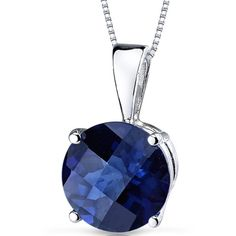 Oravo 14k White Gold Round-cut Gemstone Pendant ($97) ❤ liked on Polyvore featuring jewelry, pendants, blue, gemstone jewelry sets, white gold jewelry, chain pendants, pendant jewelry and blue jewelry