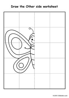FREE Printable Symmetry Drawing for Kids. Symmetry Drawing Activity for Preschool and Kindergarten. Develop Math and Geometric skills. Symmetry Worksheets, Symmetry Activities, Drawing Activities, Art Worksheets, Free Printable Worksheets, Kindergarten Worksheets, Worksheets For Kids, School Age Activities, Creative Activities For Kids