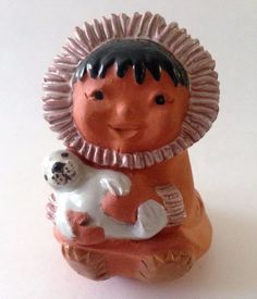 #BarbLee #Inuit #Eskimo Girl with #BabySeal Terracotta 1986 Signed Made in #Alaska