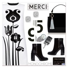 """Merci, Chérie!"" by razone ❤ liked on Polyvore featuring Victoria, Victoria Beckham, Forever 21, Topshop, Rosanna, Bloomingdale's, monochrome, white, black and blackandwhite"