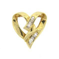 14k Gold Baguette Diamond Heart Slide Pendant