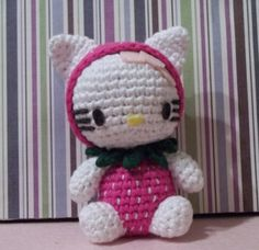 Hello Kitty crochet amigurumi strawberry costume