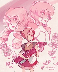 Rose Quartz, Pink Diamond, and Pearl from Steven Universe as drawn by Ikimaru of Tumblr.