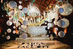 LOOK AT THIS ✨🙌🏻 wedding reception dance floor of dreams! Balloons, disco ball, and lanterns! Disco Theme Parties, Disco Party Decorations, Wedding Reception Decorations, Party Themes, Birthday Parties, Disco Birthday Party, Wedding Reception Balloons, Party Ideas, Dance Decorations