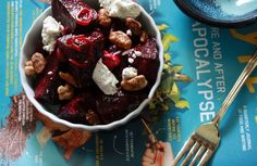 Roasted beet and goat cheese salad. Used toasted pecans instead of candied walnuts.