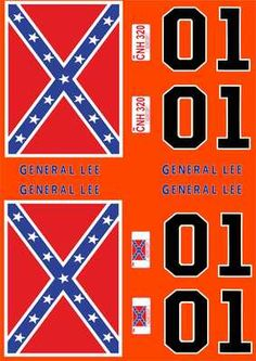 General Lee Model Decals 1:18 Scale A4 Sheet