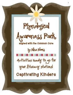 Phonological Awareness PackLiteracy.RF.K.2 Demonstrate understanding of spoken words, syllables, and sounds (phonemes).Rhyming MatchCounting SyllablesMissing SoundsCrashing WordsPhoneme SegmentationDo You Belong? (word family)Literacy Stations ready to go!