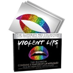 Violent Lips - The Rainbow Glitteratti Pro - Set of 3 Temporary Lip Tattoos ** Check out this great product. (This is an affiliate link) #TemporaryTattoos