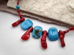 Painted Set Necklace Bracelet Earrings inspired by Ancient Greek Minoan Art. Boho Blue Red Brown Jewelry Set Gift with Semi-Precious stone. Stone Chips, Minoan, Greek Art, Wooden Earrings, Paint Set, Short Necklace, Necklace Sizes, Ceramic Beads, Ancient Greek