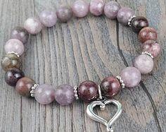 Bracelet de pierres fines jasper spot violet et tourmaline multicolore elbaïte de 8mm - breloque coeur argent Tierracast