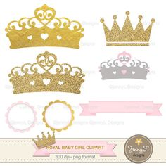 Crown Digital papers and Clipart, Royal Princess Girl Baby Shower, Birthday Pink…