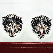 Lion head cufflinks Sterling silver sapphire eye Lot 849