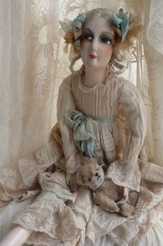 ANTIQUE FRENCH BOUDOIR DOLL.PARIS.TEDDY BEAR.FASHION DOLL C.1920