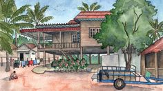 """Illustrations for Don George's essay, """"Piecing together puzzles in Cambodia,"""" as part of BBC Travel's Words & Wanderlust column. """"I commissioned Candace for BBC Tr…"""