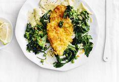 Hühnerschnitzel mit Brokkoli, Erbsen und Zitronenmayonnaise