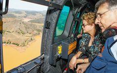 Presidente Dilma sobrevoa area da tragedia provocada pela Samarco em Mariana, MG.