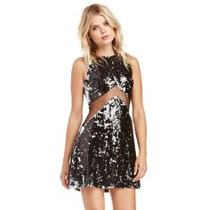 Black and White Sleeveless Sequined Mini Dress with Mesh Cut-out