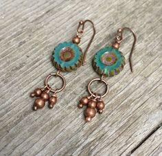 Teal blue glass flower boho earrings with copper, bohemian dangle earrings, boho jewelry