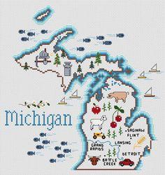Michigan Map - Cross Stitch Pattern