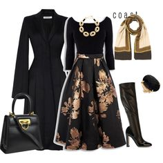 A fashion look from November 2015 by natalyag featuring J. Anderson, Dolce&Gabbana, Salvatore Ferragamo, Vanessa Mooney and Versace Modest Outfits, Classy Outfits, Modest Fashion, Hijab Fashion, Fashion Dresses, Cute Outfits, Mode Hijab, Elegant Outfit, Dress To Impress