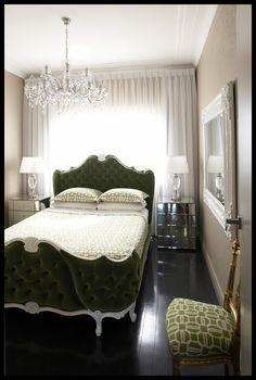 hollywood regency bedroom. LOVE that bed.