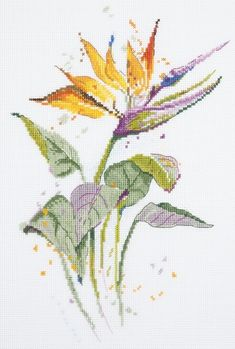 Your place to buy and sell all things handmade - Modern Cross Stitch Embroidery Kit Beautiful Nature Strelitzia Gift Idea Russian Manufacture - Cross Stitch Tree, Modern Cross Stitch, Cross Stitch Flowers, Cross Stitch Kits, Cross Stitch Charts, Cross Stitch Designs, Cross Stitch Patterns, Cross Stitch Embroidery, Embroidery Patterns