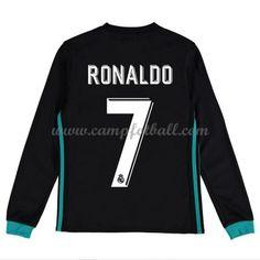 Fotballdrakter Barn Real Madrid 2017-18 Cristiano Ronaldo 7 Borte Draktsett Langermet Cristiano Ronaldo 7, 18th, Long Sleeve, Sleeves, Mens Tops, T Shirt, Football Shirts, Full Sleeves, Football Soccer