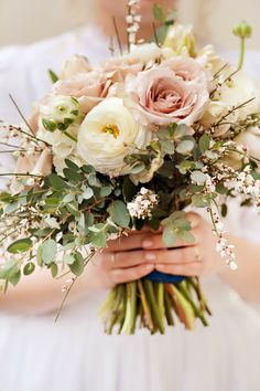 I love this bouquet! blossom sweet: soft, delicate, feminine, romantic... bouquet. roses, genista, ranunculus, gun-eye eucalyptus, and parrot tulips
