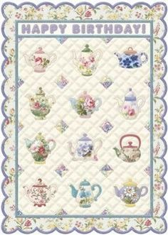 Carol Wilson Stationery Teapot Quilt Birthday Greeting Card