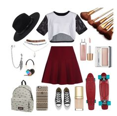 """""""#3 - Skater Girl"""" by thebritishamerican on Polyvore featuring ComeForBreakfast, Eastpak, Converse, Forever 21, Casetify, Jane Iredale, Clinique, Dolce&Gabbana, Bling Jewelry and Frends"""