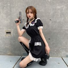 French Maid Fancy Dress, Gesture Drawing Poses, Maid Dress, Aesthetic Grunge, Alternative Outfits, Ulzzang Girl, Cute Girls, Ruffles, Cool Outfits