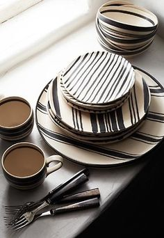Pinstriped Plates and Coffee Mugs