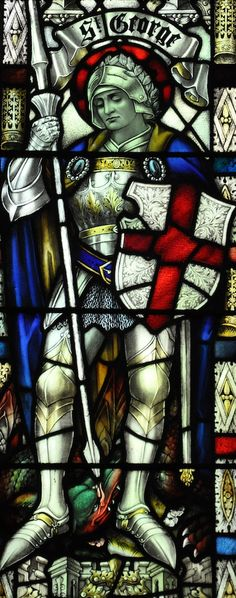 Echoes of the past blog photo: St George and the dragon stained glass window, St Mary's Church, Long Sutton, Lincolnshire