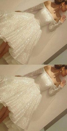 Knee Length Evening Dress,Long Sleeve Evening Gown,Short Prom Dress by fancygirldress, $169.00 USD