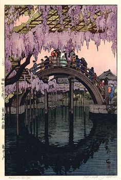 "Kameido Bridge ~ by Hiroshi Yoshida ~ Mik's Pics ""Japan l"" board Gravure Illustration, Illustration Art, Samurai, Hiroshi Yoshida, Art Occidental, Art Asiatique, Japanese Painting, Landscape Prints, Japan Art"
