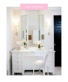 Master bathroom design with Visual Comfort Lighting Ruhlmann Single Sconce flanking white folding mirror over marble top makeup vanity paired with white vanity chair. Bad Inspiration, Bathroom Inspiration, Mirror Inspiration, My New Room, My Room, Tocador Vanity, Home Design, Design Ideas, White Vanity