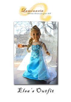 "Pattern NO DRESS Disney's Frozen Elsa's Dress Outfit for 18"" American Girl-Lumi"
