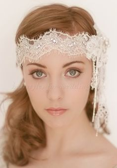wedding hair updos with veil and forehead band | lace forehead band for brides