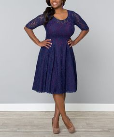 This Blue & Plum Sweet Leah Dress - Plus by KIYONNA is perfect! #zulilyfinds