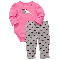 """Carter's Girls """"Sealed With a Kiss"""" 2 Piece Embroidered Long Sleeve Bodysuit with Bow Print Pant Set - Carters - Babies """"R"""" Us"""