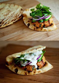 Burgers Tandoori Chicken Burgers (I had a little trouble with them holding together, but the spices were delicious.)Tandoori Chicken Burgers (I had a little trouble with them holding together, but the spices were delicious. Think Food, Food For Thought, Love Food, Indian Food Recipes, Asian Recipes, Healthy Recipes, Turkish Recipes, Healthy Indian Food, Medeteranian Recipes