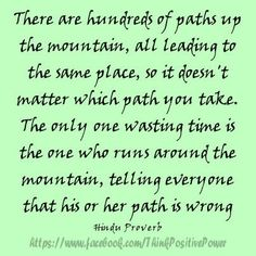 There are hundreds of paths up the mountain, all leading to the same place, so it doesn't matter which path you take. The only one wasting time is the one who runs around the mountain, telling everyone that his or her path is wrong.