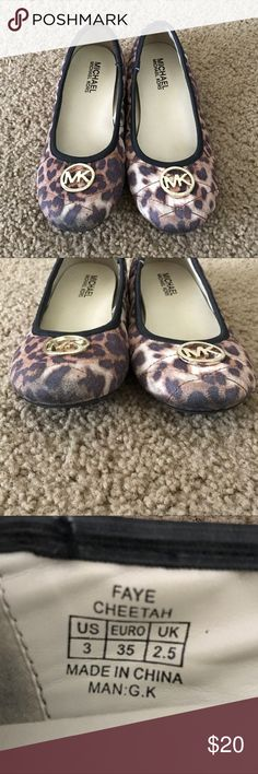 Michael Kors Leopard Print MK Logo Flats A gently used leopard print pair of flats by Michael Kors in a size 3.   ✨ Ask me about free shipping! 💕 Always ships within 2 business day 🚫 I do not trade MICHAEL Michael Kors Shoes Sandals & Flip Flops